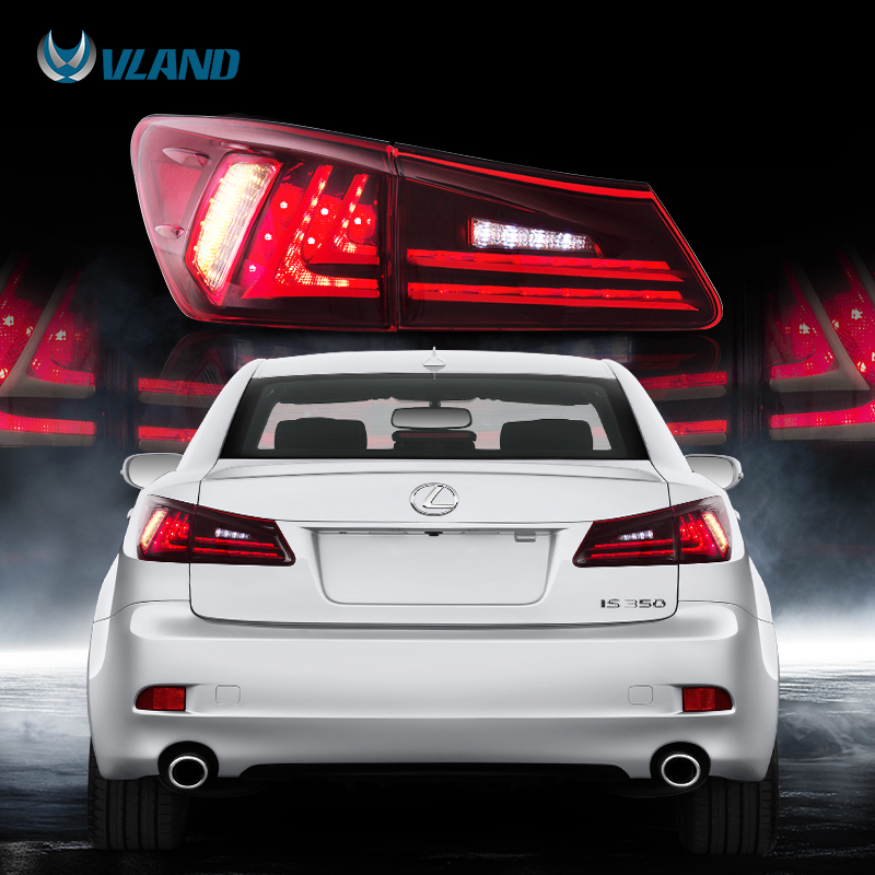 VLAND Fit <font><b>Lexus</b></font> IS250/IS300/IS350 2006-2012 Tail light Led Design Red Lens Taillight Assembly Rear Lamp image