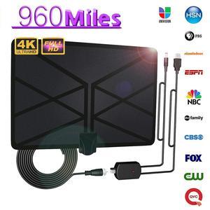 Image 5 - Alcance amplificado interno aéreo da antena 960 milhas de hdtv de digitas da tevê com a tevê freeview de 4 k hd dvb t para a transmissão local dos canais da vida