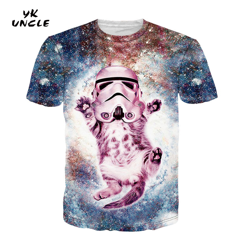 YK UNCLE Brand Clothing 2017 New Arrivals 3D Printed Thundercat T-Shirt Galaxy Space Cat with Space Suit Short Sleeve T shirts