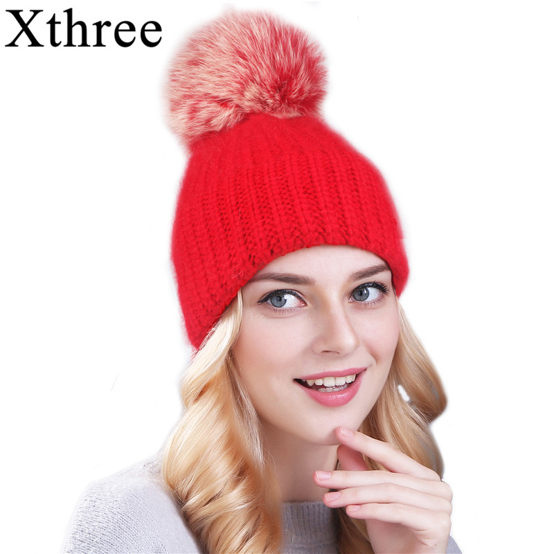 Xthree 70% Angola Rabbit fur knitted hat with real fur pom pom hat   Skullie     beanie   winter hat for women girl 's hat female cap