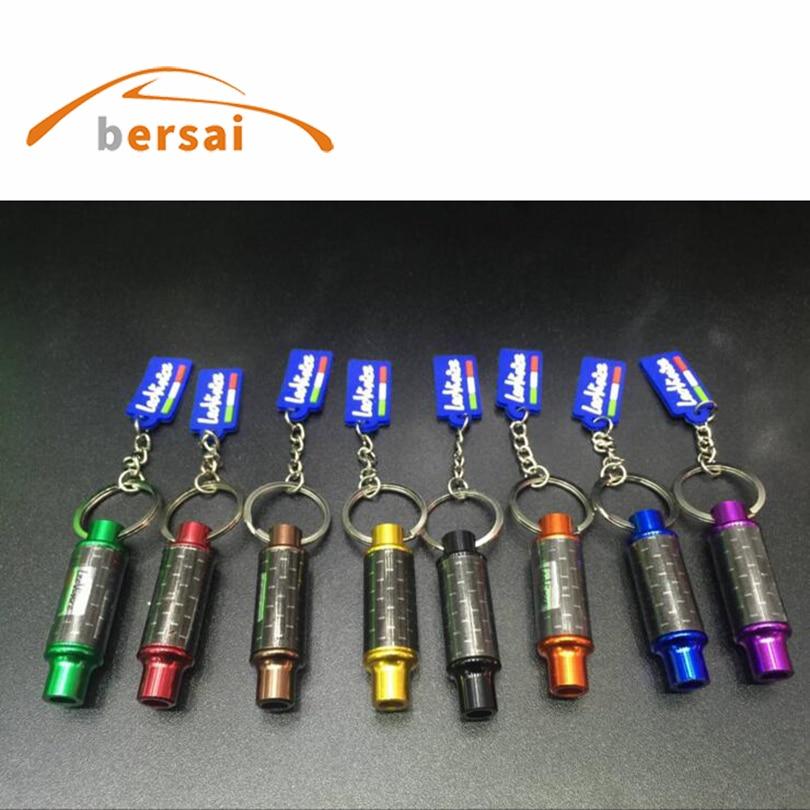 50pcs AUTO art exhaust keychain metal car key ring hellaflush modified personality pendant motorcycle chain Trinkets