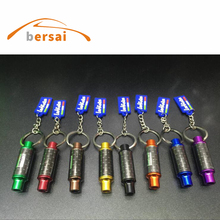50pcs AUTO art exhaust keychain metal car key ring hellaflush modified personality pendant motorcycle chain Trinkets