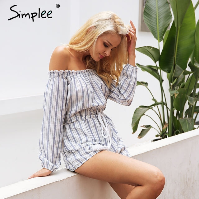 Simplee Apparel Sexy off shoulder blue striped women jumpsuit romper Summer style beach short playsuit Casual macacao overalls