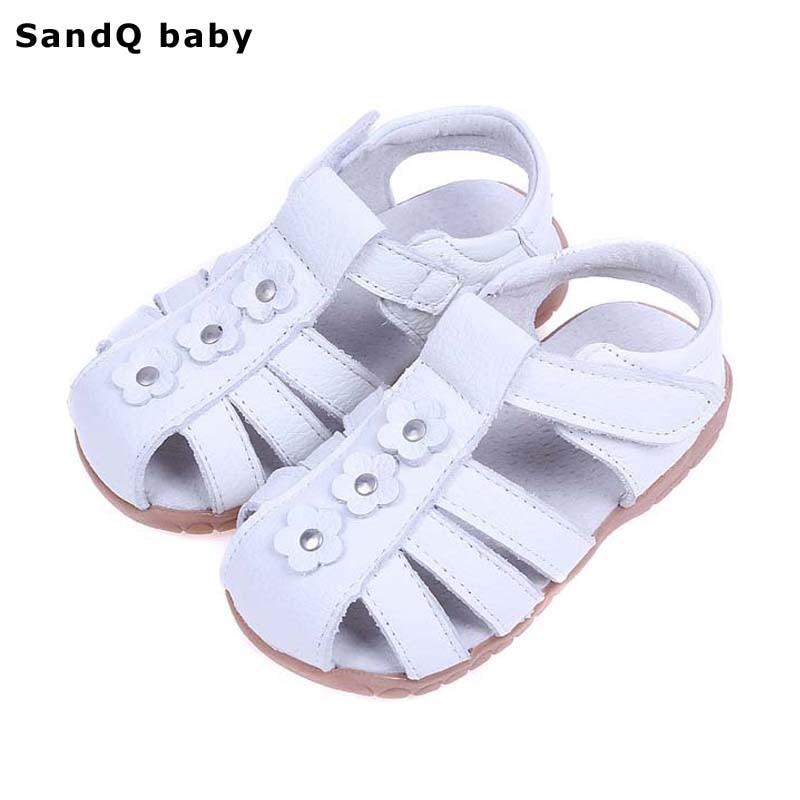 Fete Sandale 2019 de vară pantofi de piele autentic din piele Fete de flori Printesa de pantofi Slip-resistant copii sandale