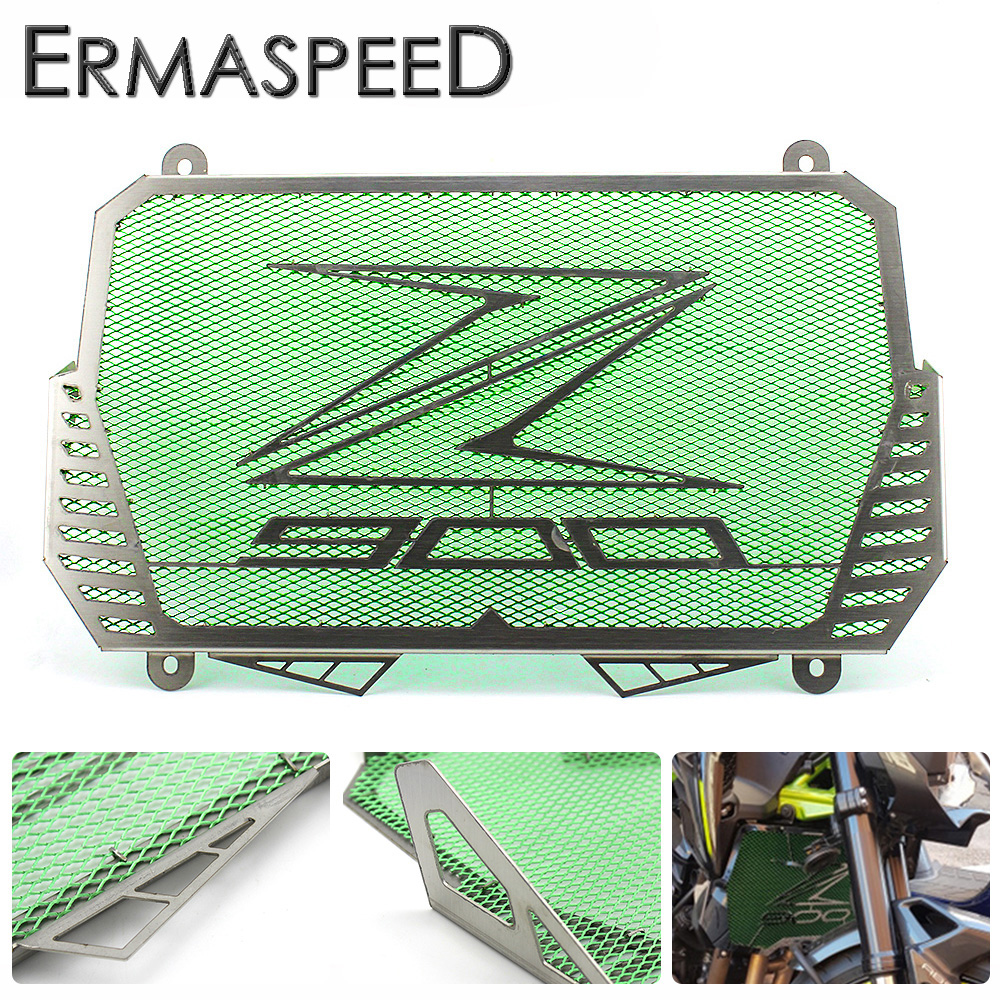 For Kawasaki Z900 2017 Motorcycle Radiator Guard Gloss Stainless Steel Grille Bezel Radiator Net Protective Cover for kawasaki z900 2017 motorcycle radiator guard gloss stainless steel grille bezel radiator net protective cover
