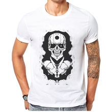 цены Rock N Roll Skull Printed T Shirt For Men Casual Short Sleeve 100% Cotton Creative Mens T-Shirt Popular Tops Cool Man Tee Shirts
