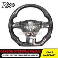 Высокое качество 3D углеродного волокна + кожаный рулевое колесо настройки для гольфа MK6 GTI ПОЛО Passat CC double D форма рулевого управления