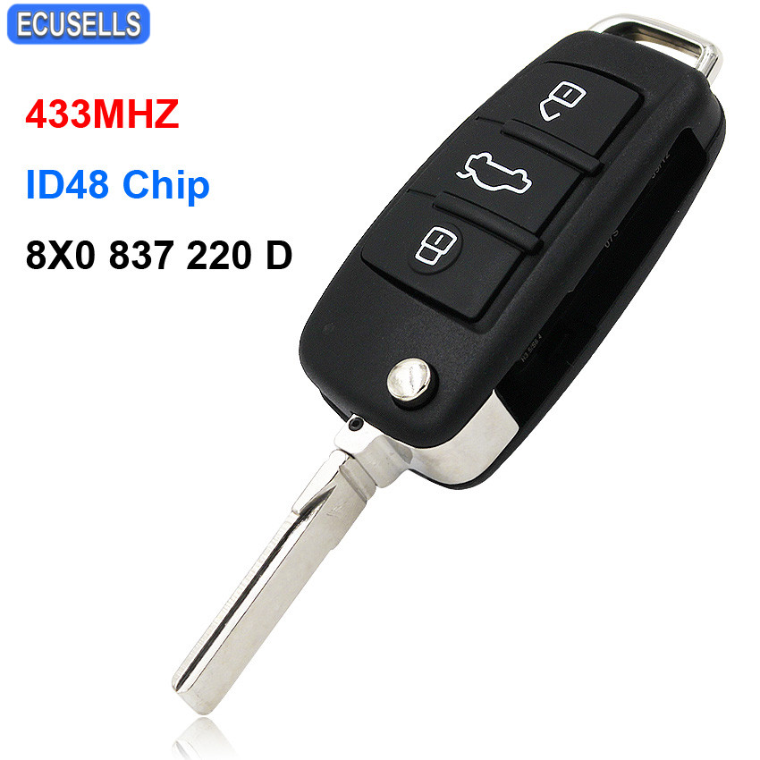 Upgraded 3 Button Folding Flip Remote Smart Car Key 433MHz