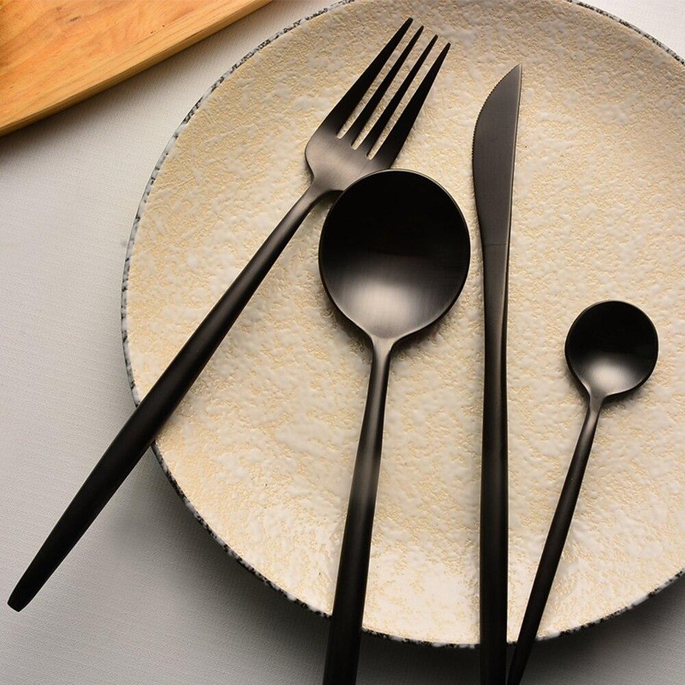 316 stainless steel western food tableware sets black cutlery luxury matte fork teaspoon kinfe. Black Bedroom Furniture Sets. Home Design Ideas