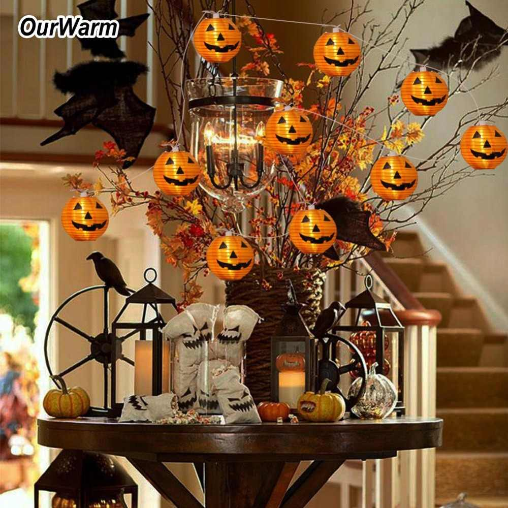 OurWarm Halloween DIY Decoration Festival Lantern Pumpkin String Lights Warm White 10 LED String Lights Decoration for Home