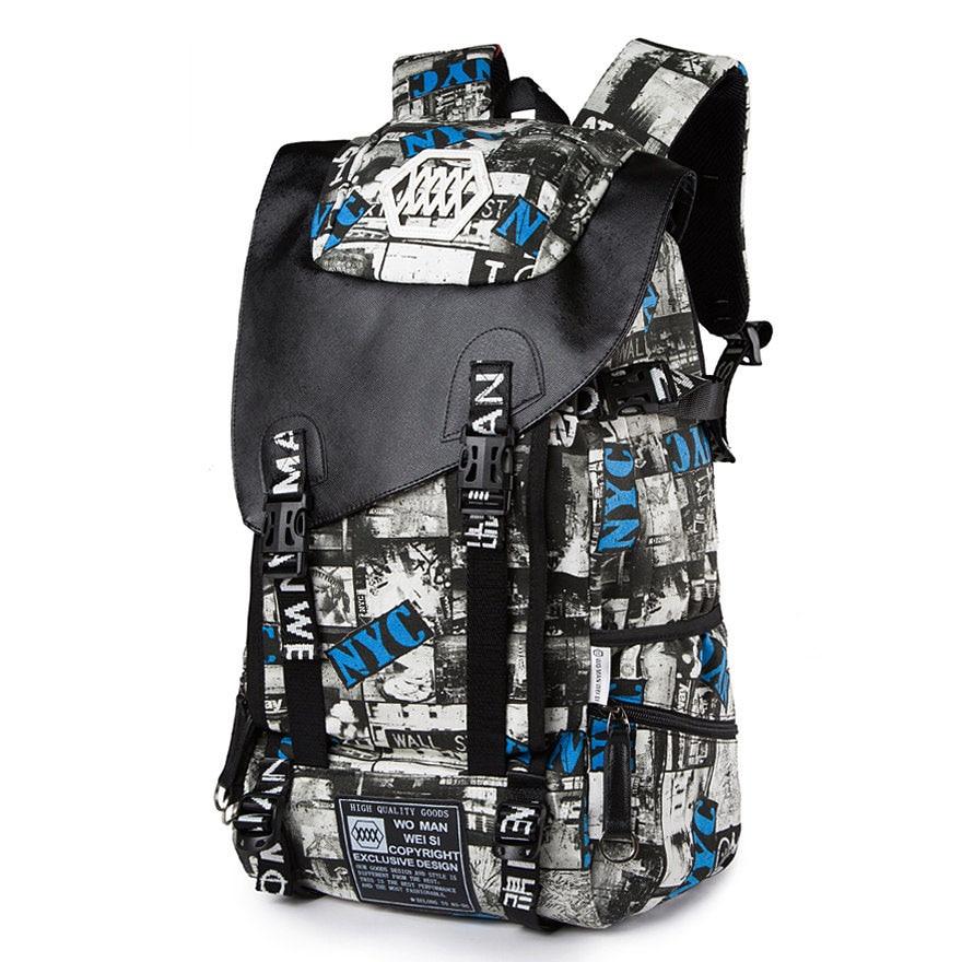 Trendy Printing Canvas Backpack Fashion Buckle Contrast Color Large Bag Men Splicing Travel Bag Brand Laptop Bag School Backpack все цены