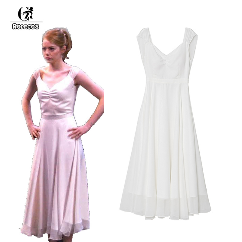 rolecos la la land emma stone mia cosplay costume white backless women chiffon long dresses. Black Bedroom Furniture Sets. Home Design Ideas