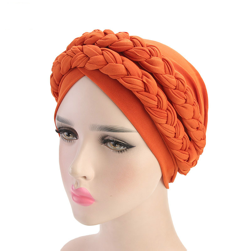 Muslim Double Color Braids Stretch Turban Ruffle Hair Hats Beanie Bandanas Scarf Head Wrap Headwear For Women 08