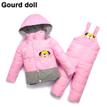 Baby boy girl warm winter outerwear & coats retail kid romper down jacket clothing sets , kids down & parkas Suitable 6-24 month