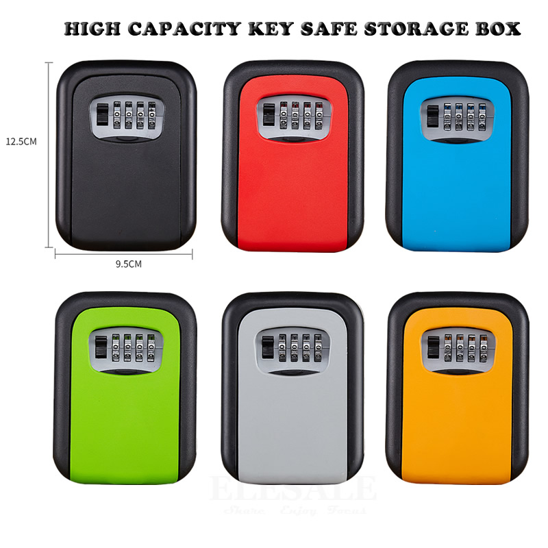 High Quality Metal Key Safe Storage Box With 4-Digit Password Lock Home Garage Apartment Spare Keys Hidden Secret Organizer Box