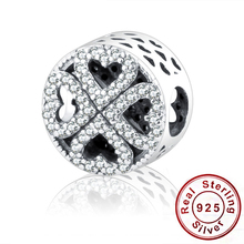 2016 Winter Match Authentic Pandora Charms Beads Bracelets DIY 100% 925 Silver Coronary heart Bead Petals of Love Silver Attraction With Clear CZ