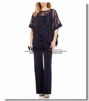 Современный комплект из топа и штанов с кружевной отделкой и блестками для мамы, костюм со штанами для особых случаев, черная одежда