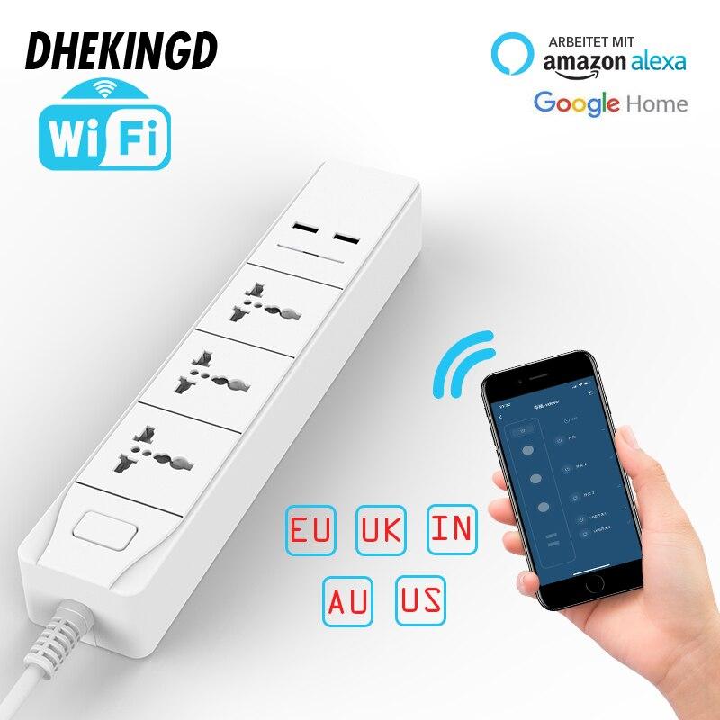 Wifi Smart Power Strip with Universal 3 Socket 2 USB Charging Station Work with Alexa Google