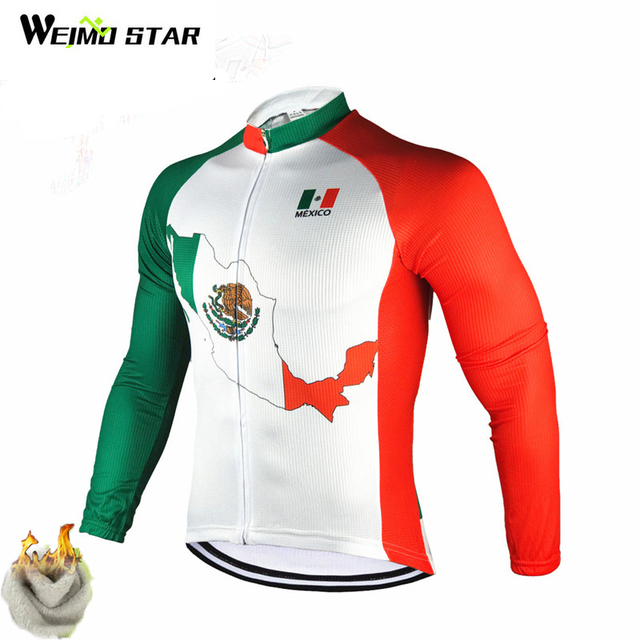 Weimostar Winter Mexico Cycling Jersey Long Sleeve Warm Bicycle Clothing  Thermal Fleece Pro Team mtb Bike 1f2ca7398
