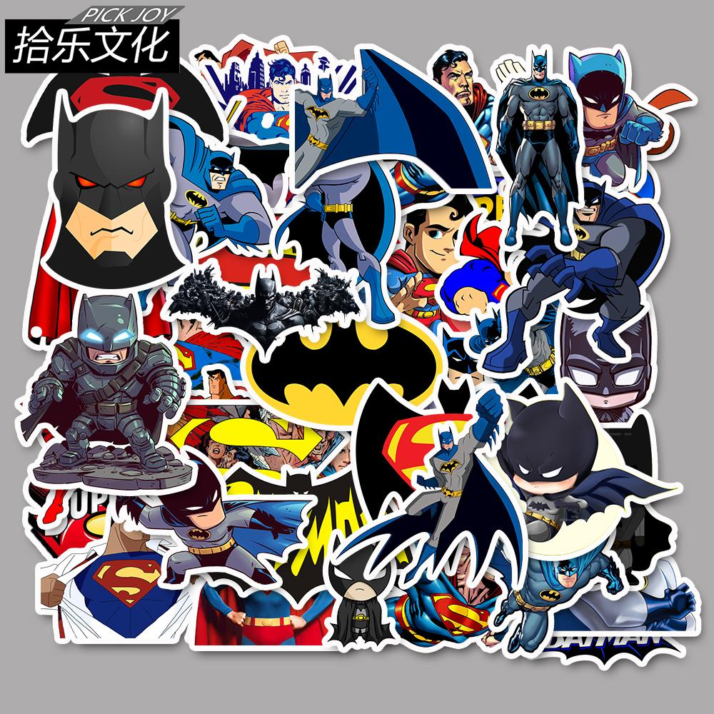 45Pcs/Lot SUPERMAN BATMAN Waterproof Cartoon Sticker For Kids Toy Luggage Skateboard Phone On Laptop Moto Bicycle Wall Guitar