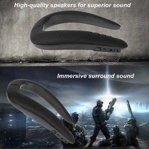 Image 2 - JINSERTA 5D Stereo Wireless Bluetooth Speaker Waterproof Wearable Ring Necking Sport Neck Hanging Microphone Bluetooth Audio