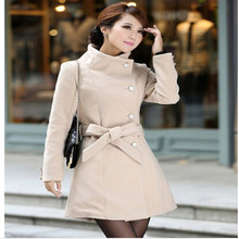 2015 Winter Coat Women Wool Blends Bleted Coats Single-breasted OL Slim Outerwear Mid-long Overcoat S/M/L/XL 5 Colors CO-014