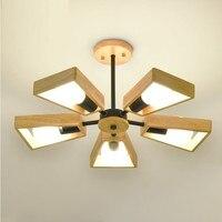 Современные подвесные светильники Люстра Деревянный светильник Ламповые люстры освещение для столовой спальни