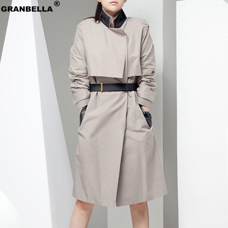 High quality women stand collar elegant long trench coat autumn fashion PU leather patchwork slim windbreaker for office ladies