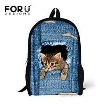 FORUDESIGNS Denim Kinder Schultaschen für Mädchen Nette Katze Hund Kopf Kinder Schultaschen 3D Cartoon Tier Schule Rucksack Mochila