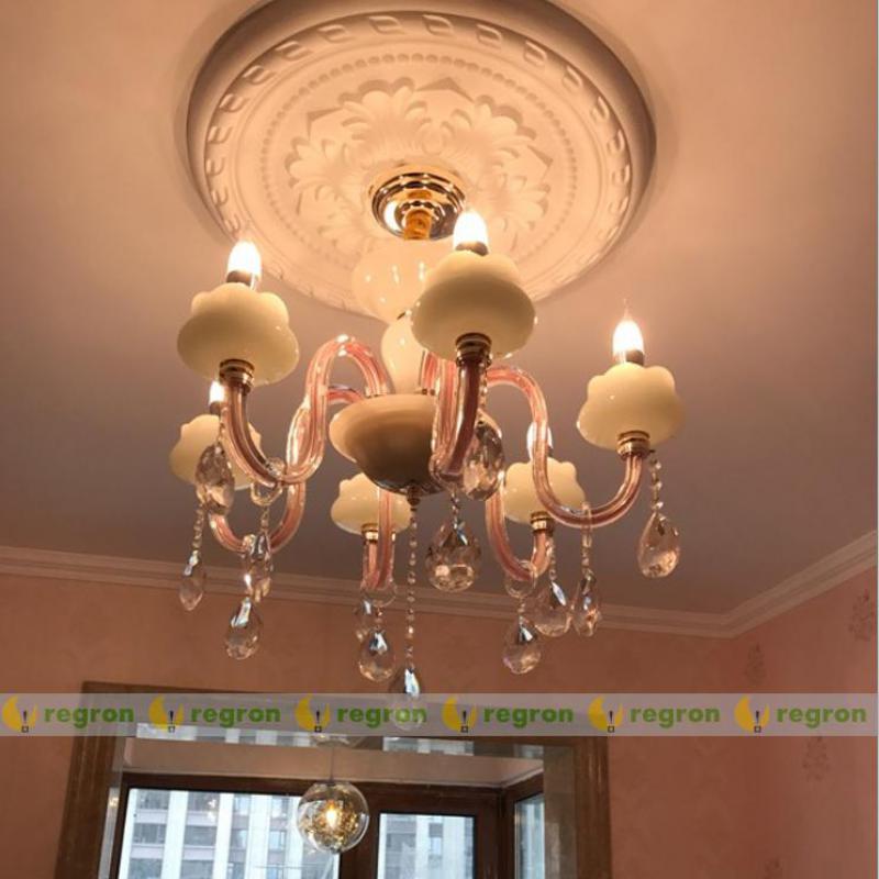 Lustre rose en verre à la maison led lampes suspendues pour enfants chambre d'enfant chambre de mariage lustre moderne éclairage Led lustres