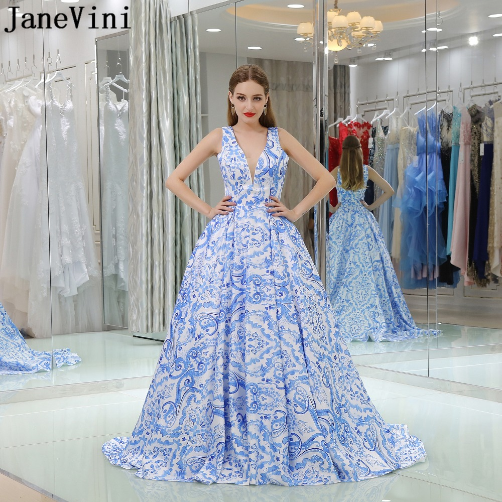 JaneVini Chic Floral Print A Line   Bridesmaid     Dresses   Satin Sexy Deep V Neck Backless Sweep Train Wedding Party   Dress   Plus Size