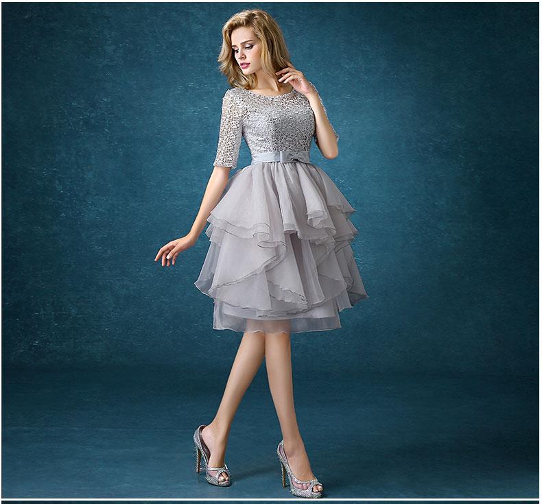 Silver Vestidos De Festa Lace Cocktail Dress Plus Size Special