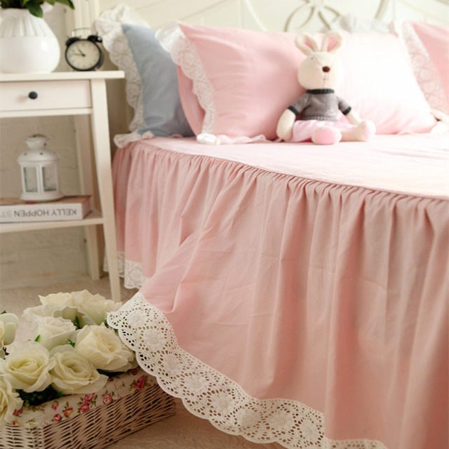 European Sweet Sunflower Handmade Embroidered Bed Skirt High Quality Cotton Bedspread Princess Bedroom Sheet Decoration