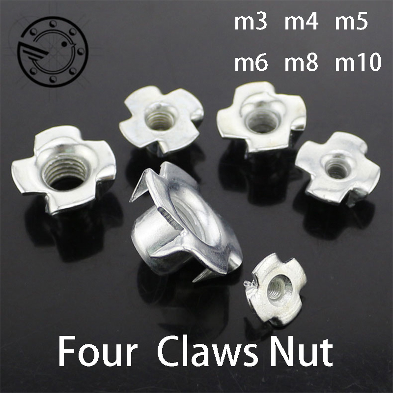 50pcs M3 M4 M5 M6 M8 M10 Four Claw Female Furniture Nut Captive T Pronged Tee Blind Nuts Claws Speaker T-nut Blind furniture