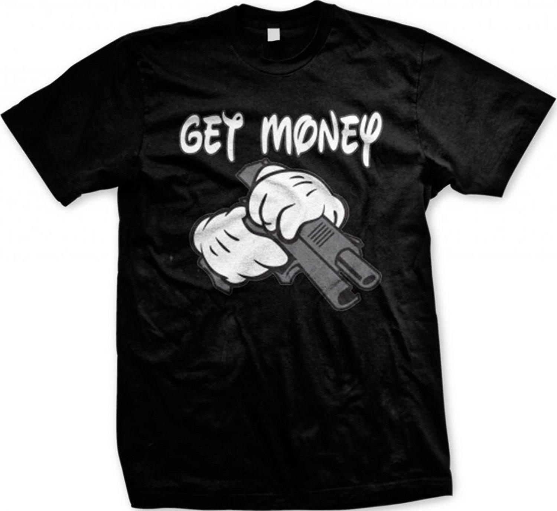 Gildan Get Money, Cartoon Hands Holding a Gun Mens T-shirt (Black)