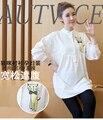 Ropa Para Mujeres Embarazadas Embarazo Maternidad Camisas 100% de Algodón Blanco de La Manga Completa Mandarina Cuello Camisa Tops