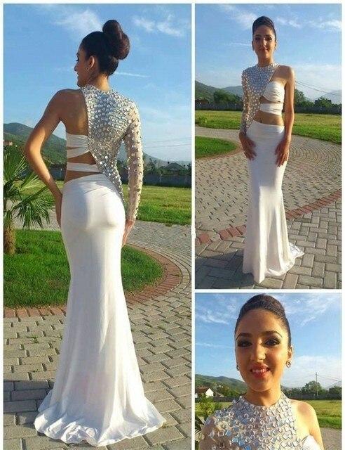 f0734e066e9e Vestidos De Festa 2016 Classical One Long Sleeve Prom Dress 2016 Sexy White Crystal  High Neck