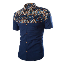 2017 summer men's casual shirt, fashion ethnic style short-sleeved shirt, comfortable breathable slim shirt man