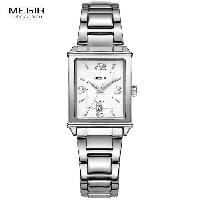 Megir נשים פשוט נירוסטה קוורץ שעון עם לוח שנה תאריך תצוגת אופנה עמיד למים שמלת שעון יד עבור Ladies1079L