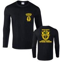 Новые зеленые Беретки для женщин армии США спецназ Футболка Для мужчин хлопка с длинным рукавом футболка Новинка Футболки подарок