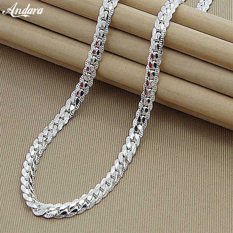 High Quality 6MM 50cm Full Sideways Necklace Women Men 925 Sterling Silver Fashion Jewelry Link Chain Necklace