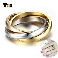 Lateefah Vnox Classic 3 Rounds Ring Sets For Women Stainless Steel Wedding Engagement Female Finger Jewelry
