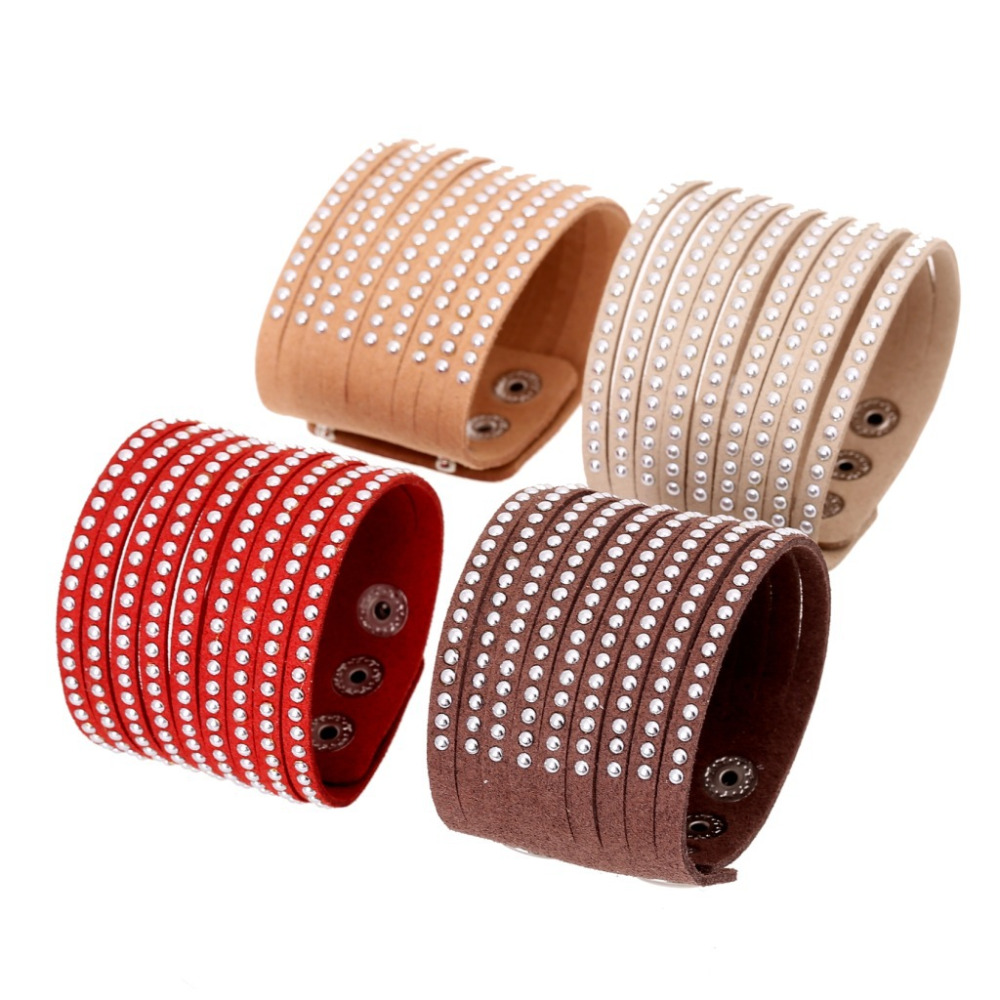 Boho Gypsy Hippie Vintage Punk Beige Red Brown Leather Shine Silvery Rivets Bead Charms Wrap Big Wide Bracelet Bangle For Women