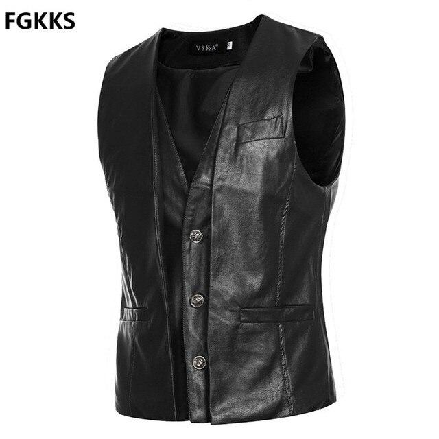 2016 New Arrival Brand Clothing Autumn Waistcoat Men Fashion Leather Vest Men Casual Slim Fit Men Vest Suit