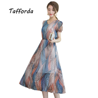Tafforda Real Shot Silk Dress In The Long Style Large Size Silk 2017 Summer Women's New V-neck Short Sleeve Women Clothes Dress