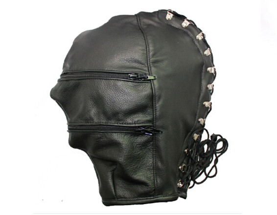 BDSM Adjustable PVC Leather Hood Mask Head Bondage Belt Slave In Adult Games,Fetish Erotic Sex Products Toys For Men And Women