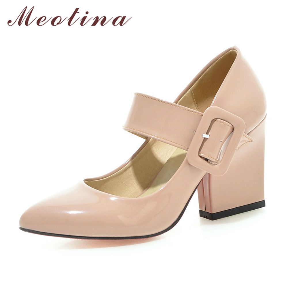 Meotina High Heels Shoes Women Mary Jane Shoes Thick High Heel Pumps Autumn Fall Footwear Pink White Apricot Big Size 9 10 40 43 цена