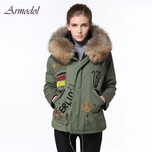 8bb537b5a743e Germany Flag Beading Women Parka Jacket Big Raccoon fur Hooded Beading  Winter Short Windcoat Free shipping