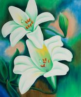 Christmas Gift Decorative Art Flower Oil Painting Canvas Wall Art Tiger Lilies Hand Painted Oil Painting High Quality
