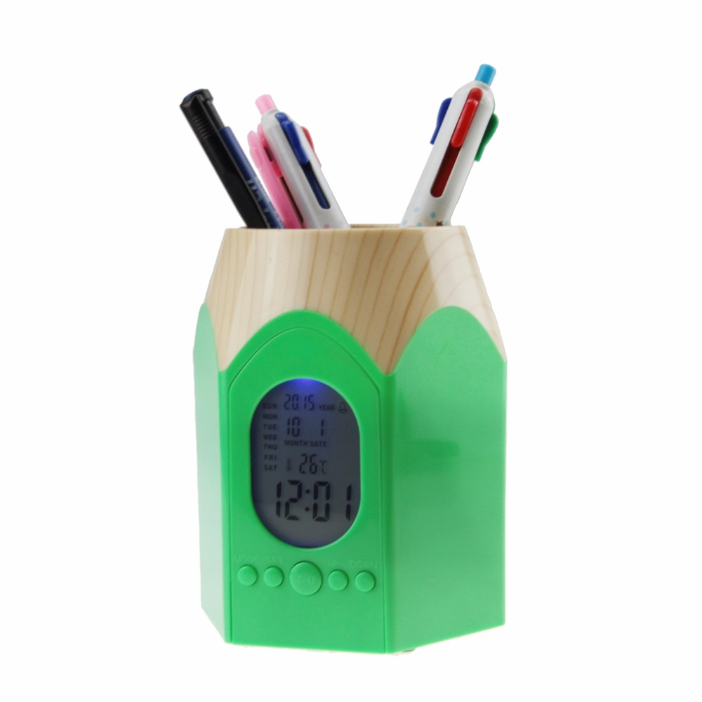 Plastic Wood Grain Pen Pencil Stub Holder Pencil Cup Pot Container w/  Date,Alarm Clock & Calendar for Pens,Utensils,Scissors-in Pen Holders from  Office ...